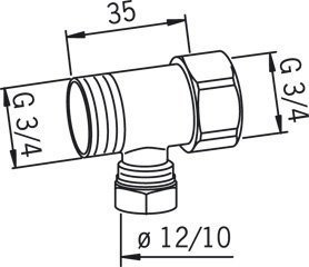 Haaroitusliitin Oras 107155 G3/4xG3/4xØ10/12 mm kromi