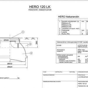 Hiekanerotin Hero 120 LK kiinteä kansisto