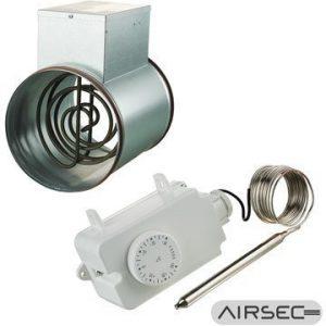 Kanavalämmitin Airsec 160 mm / 1200 W + termostaatti