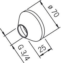 Peitelaippa Oras 203504 G3/4xØ 70 mm kromi