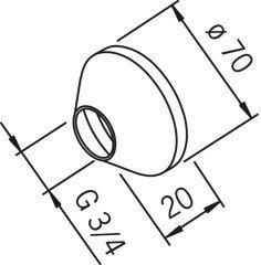 Peitelaippa Oras 207143 G3/4xØ70 mm kromi
