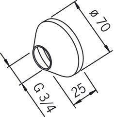 Peitelaippapari Oras 203504/2 G3/4xØ 70 mm kromi