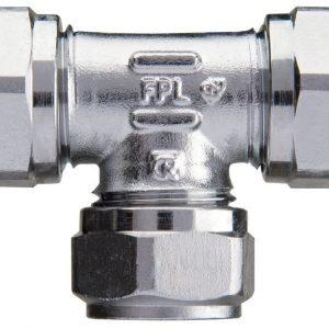 Puserrus T-liitin 15 mm kromattu
