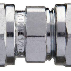 Puserrusliitin 15 mm suora kromattu