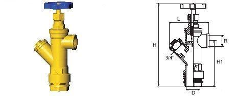 Vesimittariventtiili kierreliitin Hela 305 3/4X32